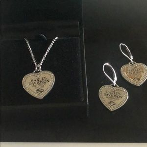 Woman Harley Davidson Necklace And Earring Set